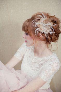 Bridal Hair Flower Gold hair piece feather hair flower by LoBoheme, $128.00