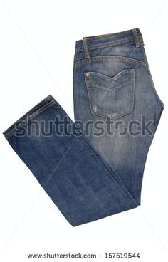 Folded blue jeans - stock photo
