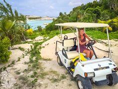 Cruising around Staniel Cay Bahamas in my golf cart!