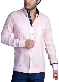 Guayabera French Cuff for Men, Parties Custom Made Clothing, Mens Clothing Styles, Guayabera Shirt, Mens Fashion, Fashion Outfits, Fashion Shirts, Mens Sleeve, Pink Color, Colorful Shirts