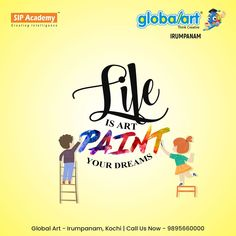 Life is art….PAINT your DREAMS…. Painting are connected to our own feelings and barriers in life. Let kids freehand draw and paint, and don't be afraid to teach some drawing skills so they can get what is in their mind's eye down on paper. Join Globalart Irumpanam now. Limited Seats Only. Call us for more details: 98956 60000 #Globalart #Kochi #Irumpanam #Art #Creativity #Drawing #Imagination Kochi, Drawing Skills, Global Art, Imagination, Dreaming Of You, Creativity, Join, Mindfulness, Dreams