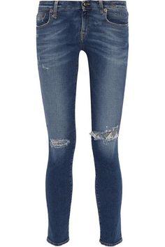 R13 - Kate Distressed Low-rise Skinny Jeans - Mid denim -