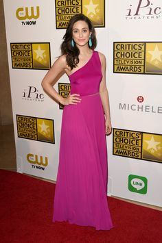 Pin for Later: It's a Celebrity White Party —and You're Invited Emmy Rossum Emmy Rossum in Monique Lhuillier and Sutra earrings at the Critics' Choice Television Awards.