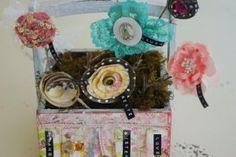 Altered Art Paper flower bouquet by SarahBeth Carter.     little black dress kit club scrapbook paper flowers