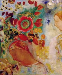 Two Young Girls with Flowers, Odilon Redon (1840 - 1916)