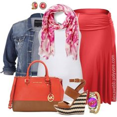 Plus Size - Coral Skirt by alexawebb on Polyvore #plussize #plussizefashion #outfit #alexawebb