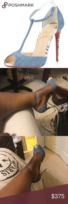 Christian Louboutin size 40 denim senora Only worn once. Great condition Comes in original box and gust bag Christian Louboutin Shoes Sandals