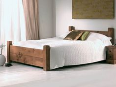 Rustic Solid Wood Bed Solid Wood Bed Is Flexible For Any Form Of House Listed In Beautiful Rustic Style Wooden Bed Frames Solid Oak Beds, Solid Wood Bed Frame, Wooden Bed Frames, Diy Bed Frame, Wood Beds, Indigo Furniture, Bedroom Furniture, Diy Bett, Rustic Bedding