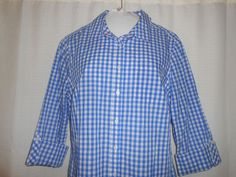 TALBOTS Blouse Top Button Up Checked Women Size 10 Blue White 3/4 Sleeve  #Talbots #ButtonDownShirt #Casual