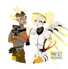 Mercy y Junkrat Overwatch, Fictional Characters, Fantasy Characters
