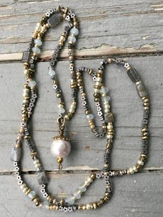 Petite Gemstone and Glass Bead Necklace with Kasumi Pearl Pendant by SeeJanesBeads by SeeJanesBeads on Etsy