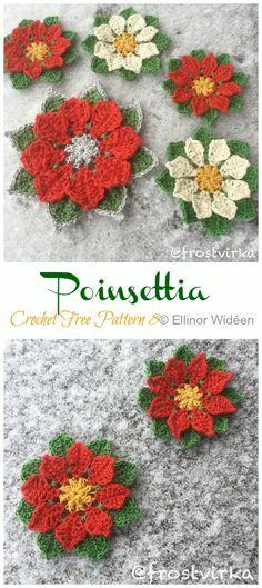 Flower Crochet Christmas Decorations, Crochet Ornaments, Christmas Crochet Patterns, Holiday Crochet, Crochet Snowflakes, Crochet Poppy Free Pattern, Crochet Square Patterns, Free Crochet, Crochet Ideas