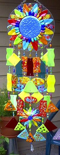 WhimsiFlower Fused Glass Wind Chimes by Andrea Mattison