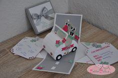 Stampin' Up! beim ZettelZirkus: Die Ehe ist eine Reise... auch nach so vielen Jahr... Hochzeitsauto, Explosionsbox, Silberhochzeit, Eulen, Minzmakrone, Wassermelone, Satinband, Geschenk,