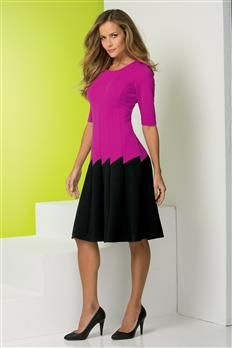 Colorblock Textured Dress | Metrostyle