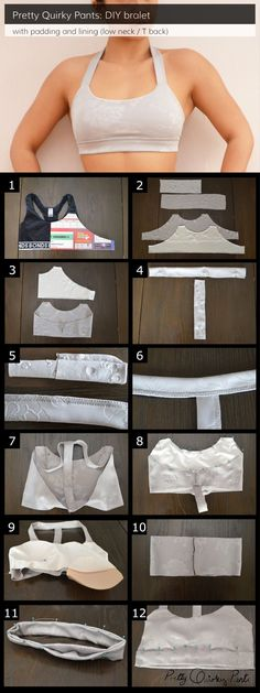 DIY Custom Padded and Lined Sports BraMake a custom sports bra that comfortably fits you from this tutorial. Pretty Quirky Pants also has tutorials for: • Neoprene bralet • Neoprene bralet with braided racer back • Cross back bralet For everything...