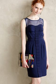 Ribbon Pleat Sheath - anthropologie.com Of course I like this dress. It's by maeve, blue, and has great details! Love the sheer back