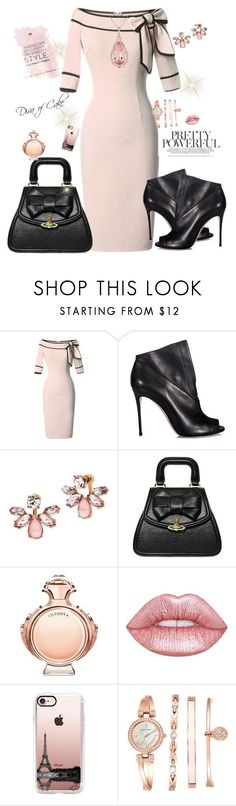 """Classy outfit soft pink and black"" by kercey ❤ liked on Polyvore featuring Casadei, Marchesa, Vivienne Westwood, Paco Rabanne, Lime Crime, Casetify and Anne Klein"