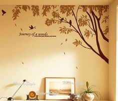 tree and bird wall mural
