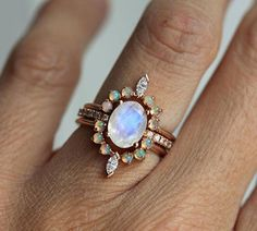 $580 SOLID 14K ROSE GOLD REAL RAINBOW MOONSTONE OPAL DIAMOND ENGAGEMENT WEDDING RING #Handmade #Eternity #AllOccasion