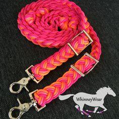 Neon pink, raspberry and orange braided barrel reins by WhinneyWear