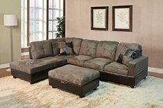 Beverly Furniture 3 Piece Microfiber and Faux Leather Upholstery Rightfacing Sectional Sofa Set with Storage Ottoman Stone Gray *** Read more  at the image link.Note:It is affiliate link to Amazon. #StunningLivingRoom