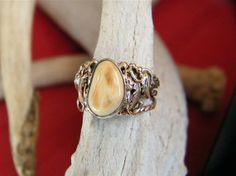Tri Rope Ring Elk Ivory Sterling Silver & 14kt by CowboysGallery, $350.00 Antler Jewelry, Pearl Jewelry, Elk Ivory, Wedding Shit, Wedding Rings, Lady, Bling, Jewels, Engagement Rings