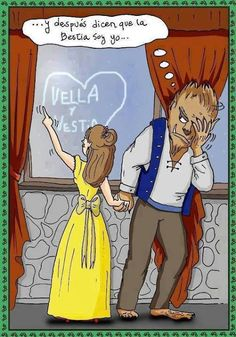 chiste grafico bella y bestia #learning #spanish #kids