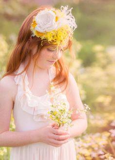 Casa Blanca Shabby Chic Yellow and White Headband by londonraquel, $29.99