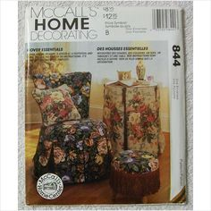 McCall's 844 Cover essentials sewing pattern Chair Pillow Loveseat Footstool on eBid United States