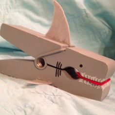Shark clothes pin made from giant clothes pin, felt, and paint, super easy and fun!