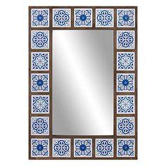 Indigo Moroccan Tile Framed Wall Mirror 28 inch by Patton Wall Decor, Blue Blue Moroccan Tile, Moroccan Decor, Moroccan Bedroom, Moroccan Lanterns, Moroccan Interiors, Moroccan Mirror, Turkish Decor, Wall Mounted Mirror, Wall Mirror