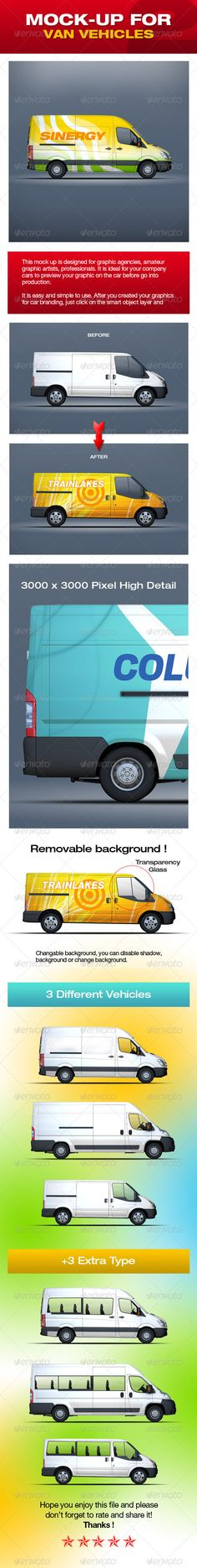 Mock-Up For Van Vehicles V2  #GraphicRiver         This mock up is designed for graphic agencies, amateur graphic artists, professionals. It is ideal for your company cars to preview your graphic on the vehicle before go into production.  	 It is easy and simple to use. After you created your graphics for vehicle branding, just click on the smart object layer and replace the current image with your work to preview how it looks on the vehicle.  	 Changable background, you can disable shadow…