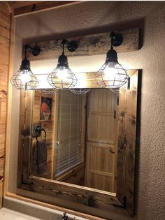 Rustic bathroom designs ESPRESSO Mirror And Light Set, Bathroom Set, Industrial Bathroom, Pendant Sh Diy Bathroom, Rustic Bathroom Designs, Wood Framed Mirror, Industrial Bathroom, Industrial Bathroom Decor, Bathrooms Remodel, Bathroom Design, Cage Light Fixture, Rustic House