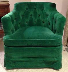 I have a similar chair (more round/tub like) but think it would look AWESOME in a darker emerald green!