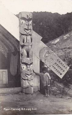 RP, Maori Carving, New Zealand, 1920-1940s -  (item 34297781 in Postcards... New Zealand)