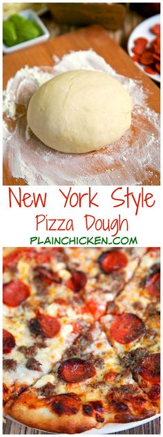 New York Style Pizza Dough Recipe - only 4 ingredients to make the best pizza dough - this dough is so easy to work with! Make the dough and refrigerate until ready to use. Can make up to 3 or 4 days in advance. New York Style Pizza Dough Recipe, Best Pizza Dough, Restaurant Style Pizza Dough Recipe, Pizza Restaurant, Pizza Recipes, Cooking Recipes, Drink Recipes, Bread Recipes, Vegetarian Recipes