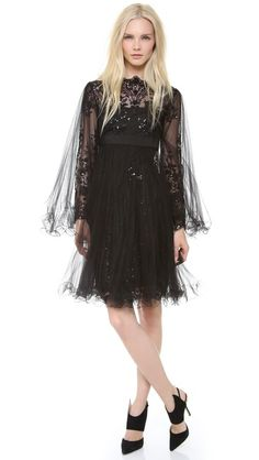 Marchesa Embroidered Dress with Pleated Tulle