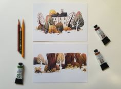 House with garden and trees: 2 diffrent DIN A5 Prints by Iraville - Ira Sluyterman van Langeweyde