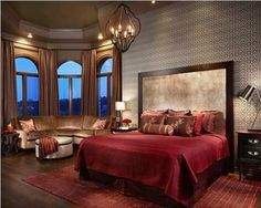 Ever So Soft BedroomSnuggle opportunities abound in this chocolate and raspberry colored bedroom. Should one tire of contemplating the view from the velvet sectional, the plush and welcoming bed invites further lounging.