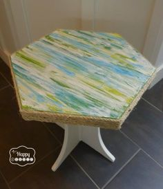 texture side table top with sisal rope edge full tutorial at thehappyhousie
