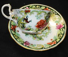 ANTIQUE-AYNSLEY-BIRD-PINK-ROSES-EXTREME-TEA-CUP-AND-SAUCER