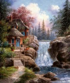 Tranquility Falls Jigsaw Puzzle - A beautiful field stone cottage sits quietly beside the rushing waterfall in a tranquil forest. Waterfall Scenery, Waterfall Paintings, Waterfall House, Fantasy Landscape, Landscape Art, Landscape Paintings, House Landscape, Thomas Kinkade Art, Graffiti Kunst