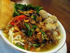 Bakso Pangsit Mie Ayam Kuah (Meatball Fried Wonton Chicken Noodle Soup) - Indonesian Food