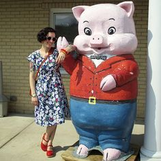 """158 Likes, 3 Comments - Tasha (@bygumbygolly) on Instagram: """"Me and a huge pig. I love Wisconsin! See a little more (including a beaver version) on my blog. 😉…"""""""