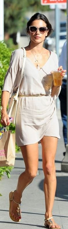 Who made  Alessandra Ambrosio's nude wrap dress and studded flat sandals?