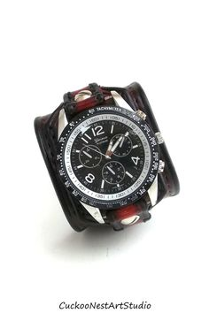 Red and Black Leather Cuff Watch, Wrist Watch, Men's watch,  Bracelet Watch, Watch Cuff