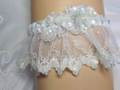 Hand Beaded Garter in White satin and lace with by ArtHouseBridal