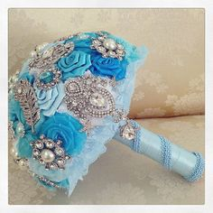 Bridal Brooch Bouquet Turquoise Bridal Bouquet by BridalQueen
