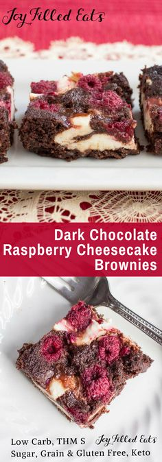Dark Chocolate Raspberry Cheesecake Brownies - Low Carb, Grain Gluten Sugar Free, THM S, Keto - My Dark Chocolate Raspberry Cheesecake Brownies are an amazing healthy dessert. With chocolate, raspberries, & cheesecake they will be your new fave treat.